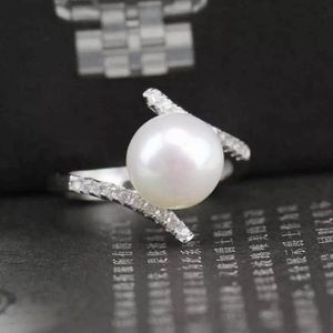 Silver Tone Clear Crystals Faux Pearl Cut Out Ring
